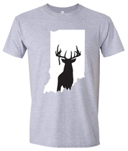 Load image into Gallery viewer, Short Sleeve T-Shirt Indiana Athletic Heather Whitetail Deer Vibrant Design High Quality Tight Knit Ring Spun Low Maintenance Cotton Printed With The Newest Available Color Transfer Technology