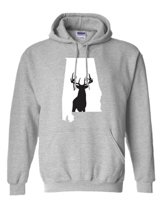 Pullover Hooded Sweatshirt Alabama Athletic Heather Whitetail Deer Vibrant Design High Quality Tight Knit Ring Spun Low Maintenance Cotton Printed With The Newest Available Color Transfer Technology