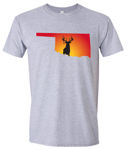 Short Sleeve T-Shirt Oklahoma Athletic Heather Whitetail Deer Vibrant Design High Quality Tight Knit Ring Spun Low Maintenance Cotton Printed With The Newest Available Color Transfer Technology