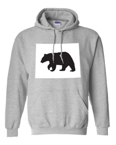 Pullover Hooded Sweatshirt Wyoming Athletic Heather Black Bear Vibrant Design High Quality Tight Knit Ring Spun Low Maintenance Cotton Printed With The Newest Available Color Transfer Technology
