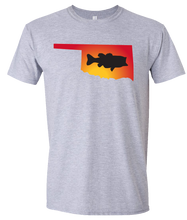 Load image into Gallery viewer, Short Sleeve T-Shirt Oklahoma Athletic Heather Large Mouth Bass Vibrant Design High Quality Tight Knit Ring Spun Low Maintenance Cotton Printed With The Newest Available Color Transfer Technology
