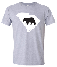 Load image into Gallery viewer, Short Sleeve T-Shirt South Carolina Athletic Heather Black Bear Vibrant Design High Quality Tight Knit Ring Spun Low Maintenance Cotton Printed With The Newest Available Color Transfer Technology