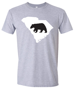 Short Sleeve T-Shirt South Carolina Athletic Heather Black Bear Vibrant Design High Quality Tight Knit Ring Spun Low Maintenance Cotton Printed With The Newest Available Color Transfer Technology
