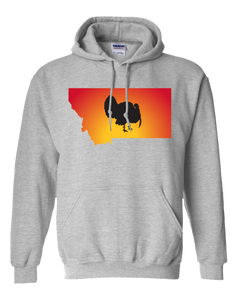 Pullover Hooded Sweatshirt Montana Athletic Heather Turkey Vibrant Design High Quality Tight Knit Ring Spun Low Maintenance Cotton Printed With The Newest Available Color Transfer Technology