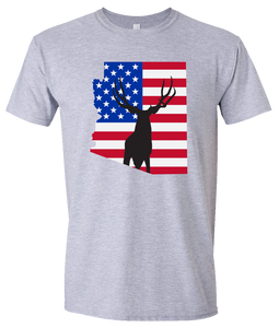 Short Sleeve T-Shirt Arizona Athletic Heather Mule Deer Vibrant Design High Quality Tight Knit Ring Spun Low Maintenance Cotton Printed With The Newest Available Color Transfer Technology
