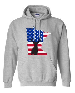 Pullover Hooded Sweatshirt Minnesota Athletic Heather Whitetail Deer Vibrant Design High Quality Tight Knit Ring Spun Low Maintenance Cotton Printed With The Newest Available Color Transfer Technology