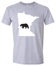 Load image into Gallery viewer, Short Sleeve T-Shirt Minnesota Athletic Heather Black Bear Vibrant Design High Quality Tight Knit Ring Spun Low Maintenance Cotton Printed With The Newest Available Color Transfer Technology