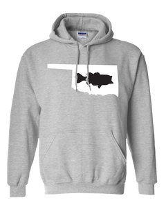Pullover Hooded Sweatshirt Oklahoma Athletic Heather Large Mouth Bass Vibrant Design High Quality Tight Knit Ring Spun Low Maintenance Cotton Printed With The Newest Available Color Transfer Technology
