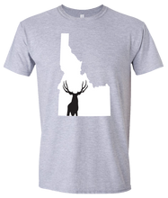 Load image into Gallery viewer, Short Sleeve T-Shirt Idaho Athletic Heather Mule Deer Vibrant Design High Quality Tight Knit Ring Spun Low Maintenance Cotton Printed With The Newest Available Color Transfer Technology