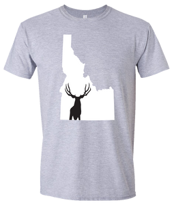 Short Sleeve T-Shirt Idaho Athletic Heather Mule Deer Vibrant Design High Quality Tight Knit Ring Spun Low Maintenance Cotton Printed With The Newest Available Color Transfer Technology