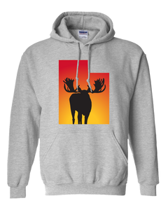Pullover Hooded Sweatshirt Utah Athletic Heather Moose Vibrant Design High Quality Tight Knit Ring Spun Low Maintenance Cotton Printed With The Newest Available Color Transfer Technology