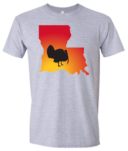 Short Sleeve T-Shirt Louisiana Athletic Heather Turkey Vibrant Design High Quality Tight Knit Ring Spun Low Maintenance Cotton Printed With The Newest Available Color Transfer Technology