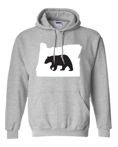 Pullover Hooded Sweatshirt Oregon Athletic Heather Black Bear Vibrant Design High Quality Tight Knit Ring Spun Low Maintenance Cotton Printed With The Newest Available Color Transfer Technology