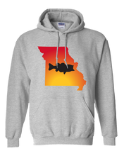 Load image into Gallery viewer, Pullover Hooded Sweatshirt Missouri Athletic Heather Large Mouth Bass Vibrant Design High Quality Tight Knit Ring Spun Low Maintenance Cotton Printed With The Newest Available Color Transfer Technology