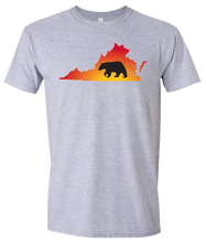 Load image into Gallery viewer, Short Sleeve T-Shirt Virginia Athletic Heather Black Bear Vibrant Design High Quality Tight Knit Ring Spun Low Maintenance Cotton Printed With The Newest Available Color Transfer Technology