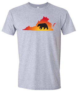 Short Sleeve T-Shirt Virginia Athletic Heather Black Bear Vibrant Design High Quality Tight Knit Ring Spun Low Maintenance Cotton Printed With The Newest Available Color Transfer Technology