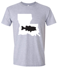 Load image into Gallery viewer, Short Sleeve T-Shirt Louisiana Athletic Heather Large Mouth Bass Vibrant Design High Quality Tight Knit Ring Spun Low Maintenance Cotton Printed With The Newest Available Color Transfer Technology