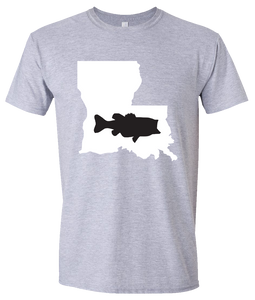 Short Sleeve T-Shirt Louisiana Athletic Heather Large Mouth Bass Vibrant Design High Quality Tight Knit Ring Spun Low Maintenance Cotton Printed With The Newest Available Color Transfer Technology