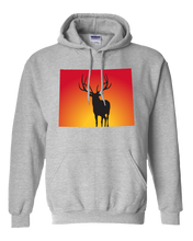 Load image into Gallery viewer, Pullover Hooded Sweatshirt Wyoming Athletic Heather Elk Vibrant Design High Quality Tight Knit Ring Spun Low Maintenance Cotton Printed With The Newest Available Color Transfer Technology
