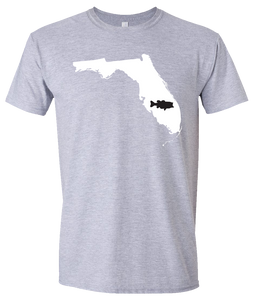 Short Sleeve T-Shirt Florida Athletic Heather Large Mouth Bass Vibrant Design High Quality Tight Knit Ring Spun Low Maintenance Cotton Printed With The Newest Available Color Transfer Technology