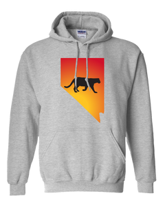 Pullover Hooded Sweatshirt Nevada Athletic Heather Mountain Lion Vibrant Design High Quality Tight Knit Ring Spun Low Maintenance Cotton Printed With The Newest Available Color Transfer Technology