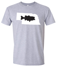 Load image into Gallery viewer, Short Sleeve T-Shirt Nebraska Athletic Heather Large Mouth Bass Vibrant Design High Quality Tight Knit Ring Spun Low Maintenance Cotton Printed With The Newest Available Color Transfer Technology