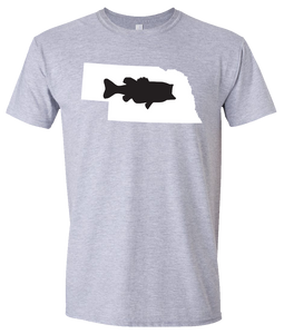 Short Sleeve T-Shirt Nebraska Athletic Heather Large Mouth Bass Vibrant Design High Quality Tight Knit Ring Spun Low Maintenance Cotton Printed With The Newest Available Color Transfer Technology