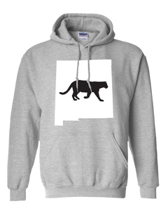 Pullover Hooded Sweatshirt New Mexico Athletic Heather Mountain Lion Vibrant Design High Quality Tight Knit Ring Spun Low Maintenance Cotton Printed With The Newest Available Color Transfer Technology