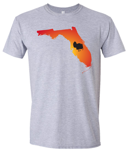 Short Sleeve T-Shirt Florida Athletic Heather Turkey Vibrant Design High Quality Tight Knit Ring Spun Low Maintenance Cotton Printed With The Newest Available Color Transfer Technology