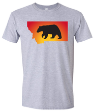 Load image into Gallery viewer, Short Sleeve T-Shirt Montana Athletic Heather Black Bear Vibrant Design High Quality Tight Knit Ring Spun Low Maintenance Cotton Printed With The Newest Available Color Transfer Technology