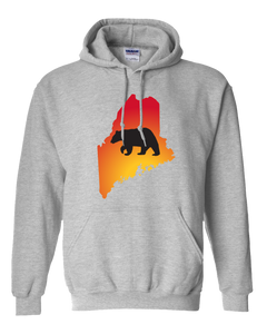 Pullover Hooded Sweatshirt Maine Athletic Heather Black Bear Vibrant Design High Quality Tight Knit Ring Spun Low Maintenance Cotton Printed With The Newest Available Color Transfer Technology