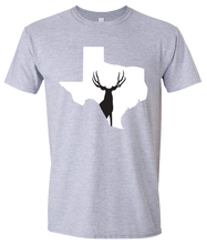 Load image into Gallery viewer, Short Sleeve T-Shirt Texas Athletic Heather Mule Deer Vibrant Design High Quality Tight Knit Ring Spun Low Maintenance Cotton Printed With The Newest Available Color Transfer Technology