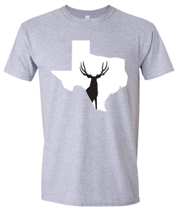 Short Sleeve T-Shirt Texas Athletic Heather Mule Deer Vibrant Design High Quality Tight Knit Ring Spun Low Maintenance Cotton Printed With The Newest Available Color Transfer Technology