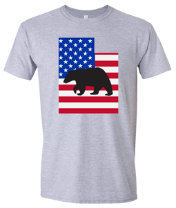 Short Sleeve T-Shirt Utah Athletic Heather Black Bear Vibrant Design High Quality Tight Knit Ring Spun Low Maintenance Cotton Printed With The Newest Available Color Transfer Technology