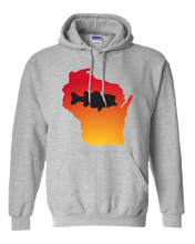 Load image into Gallery viewer, Pullover Hooded Sweatshirt Wisconsin Athletic Heather Large Mouth Bass Vibrant Design High Quality Tight Knit Ring Spun Low Maintenance Cotton Printed With The Newest Available Color Transfer Technology