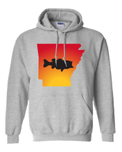 Load image into Gallery viewer, Pullover Hooded Sweatshirt Arkansas Athletic Heather Large Mouth Bass Vibrant Design High Quality Tight Knit Ring Spun Low Maintenance Cotton Printed With The Newest Available Color Transfer Technology