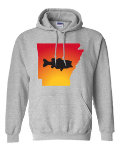 Pullover Hooded Sweatshirt Arkansas Athletic Heather Large Mouth Bass Vibrant Design High Quality Tight Knit Ring Spun Low Maintenance Cotton Printed With The Newest Available Color Transfer Technology