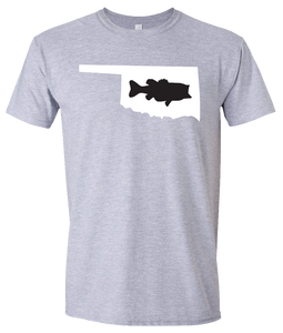 Short Sleeve T-Shirt Oklahoma Athletic Heather Large Mouth Bass Vibrant Design High Quality Tight Knit Ring Spun Low Maintenance Cotton Printed With The Newest Available Color Transfer Technology