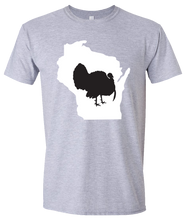 Load image into Gallery viewer, Short Sleeve T-Shirt Wisconsin Athletic Heather Turkey Vibrant Design High Quality Tight Knit Ring Spun Low Maintenance Cotton Printed With The Newest Available Color Transfer Technology
