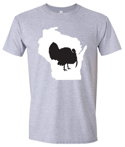 Short Sleeve T-Shirt Wisconsin Athletic Heather Turkey Vibrant Design High Quality Tight Knit Ring Spun Low Maintenance Cotton Printed With The Newest Available Color Transfer Technology