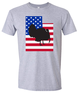 Short Sleeve T-Shirt Utah Athletic Heather Turkey Vibrant Design High Quality Tight Knit Ring Spun Low Maintenance Cotton Printed With The Newest Available Color Transfer Technology