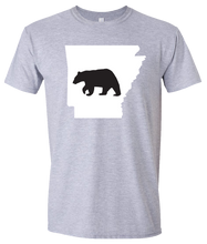 Load image into Gallery viewer, Short Sleeve T-Shirt Arkansas Athletic Heather Black Bear Vibrant Design High Quality Tight Knit Ring Spun Low Maintenance Cotton Printed With The Newest Available Color Transfer Technology