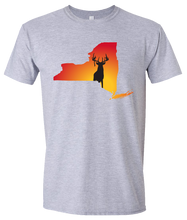 Load image into Gallery viewer, Short Sleeve T-Shirt New York Athletic Heather Whitetail Deer Vibrant Design High Quality Tight Knit Ring Spun Low Maintenance Cotton Printed With The Newest Available Color Transfer Technology