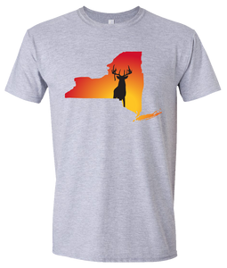 Short Sleeve T-Shirt New York Athletic Heather Whitetail Deer Vibrant Design High Quality Tight Knit Ring Spun Low Maintenance Cotton Printed With The Newest Available Color Transfer Technology