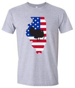 Short Sleeve T-Shirt Illinois Athletic Heather Turkey Vibrant Design High Quality Tight Knit Ring Spun Low Maintenance Cotton Printed With The Newest Available Color Transfer Technology