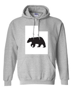 Pullover Hooded Sweatshirt Utah Athletic Heather Black Bear Vibrant Design High Quality Tight Knit Ring Spun Low Maintenance Cotton Printed With The Newest Available Color Transfer Technology