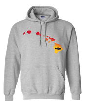 Load image into Gallery viewer, Pullover Hooded Sweatshirt Hawaii Athletic Heather Large Mouth Bass Vibrant Design High Quality Tight Knit Ring Spun Low Maintenance Cotton Printed With The Newest Available Color Transfer Technology