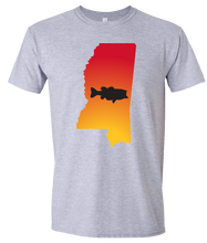 Load image into Gallery viewer, Short Sleeve T-Shirt Mississippi Athletic Heather Large Mouth Bass Vibrant Design High Quality Tight Knit Ring Spun Low Maintenance Cotton Printed With The Newest Available Color Transfer Technology