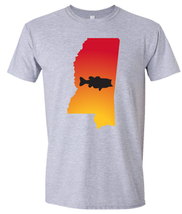 Short Sleeve T-Shirt Mississippi Athletic Heather Large Mouth Bass Vibrant Design High Quality Tight Knit Ring Spun Low Maintenance Cotton Printed With The Newest Available Color Transfer Technology