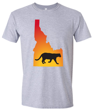Load image into Gallery viewer, Short Sleeve T-Shirt Idaho Athletic Heather Mountain Lion Vibrant Design High Quality Tight Knit Ring Spun Low Maintenance Cotton Printed With The Newest Available Color Transfer Technology